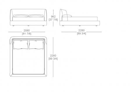 Raisable bedsping (mattress W. 1800 x D.2000 mm)