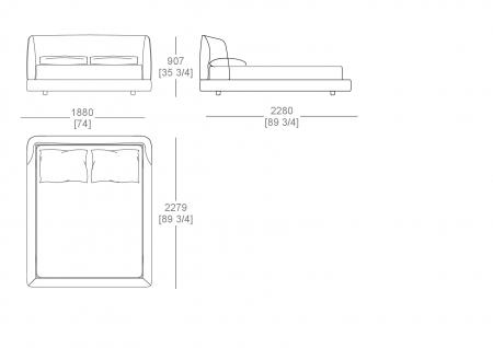 Fixed bedsping (mattress W. 1600 x D.2000 mm)