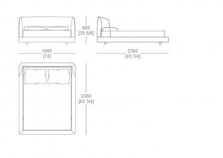 Fixed bedsping (mattress W. 1600 x D.2100 mm)