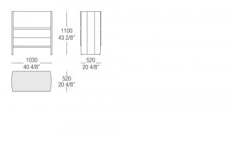 High sideboard - Glass top