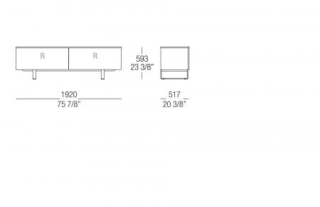 Low sideboard W. 1920 mm