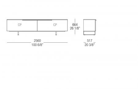 Low sideboard W. 2560 mm
