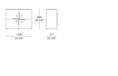 High sideboard W. 1280 mm