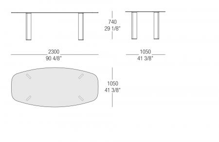 Tavolo ovale piano vetro