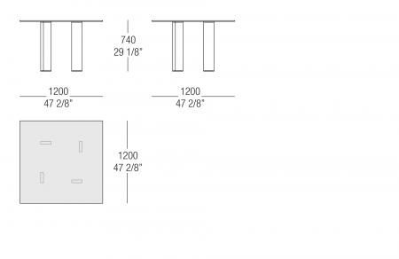Tavolo quadrato piano vetro