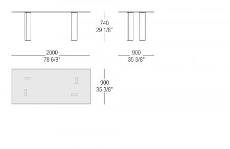 Tavolo rettangolare piano vetro