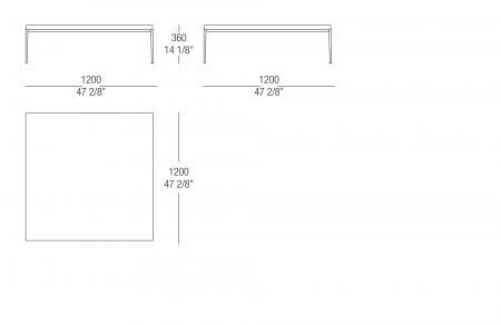 Small table W. 1200 lacquared top