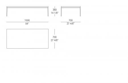 Small table W. 1500 lacquared top